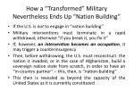 how a transformed military nevertheless ends up nation building