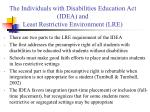 the individuals with disabilities education act idea and least restrictive environment lre1