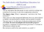 the individuals with disabilities education act idea and least restrictive environment lre2