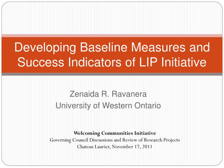 developing baseline measures and success indicators of lip initiative n.