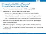 3 integration into national accounts comments from e frame workshop