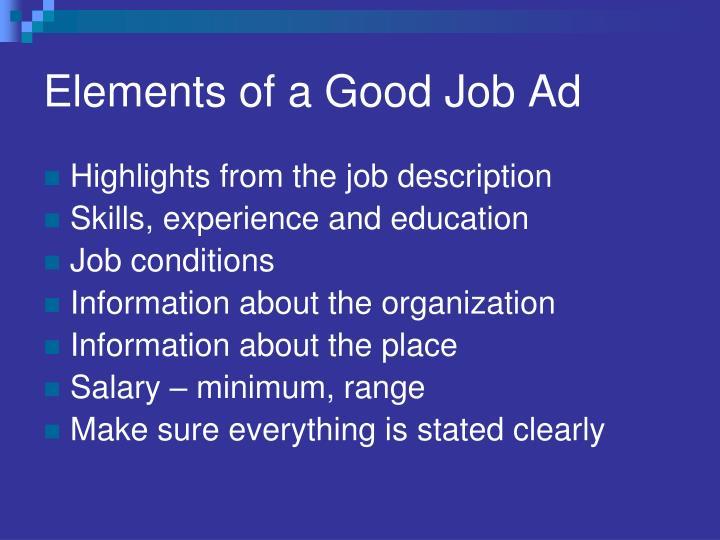Elements of a Good Job Ad