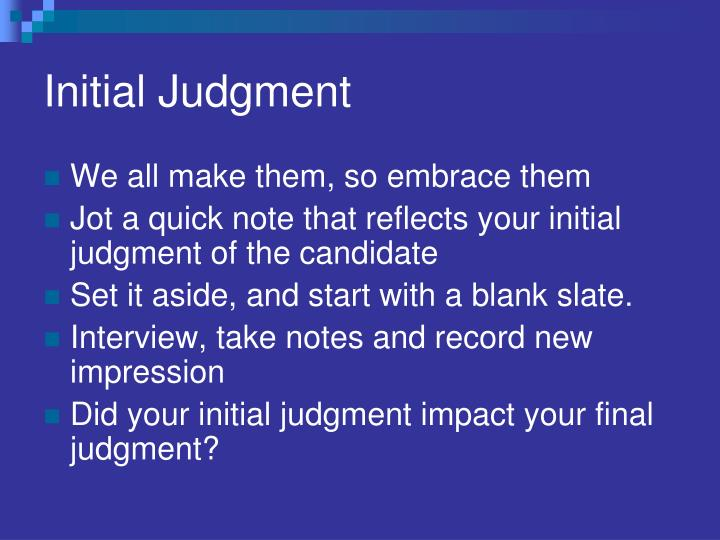 Initial Judgment
