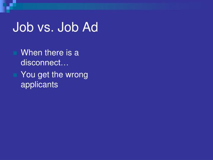 Job vs. Job Ad