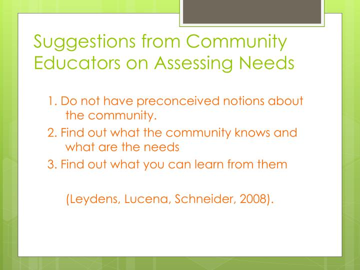 Suggestions from Community Educators on Assessing Needs