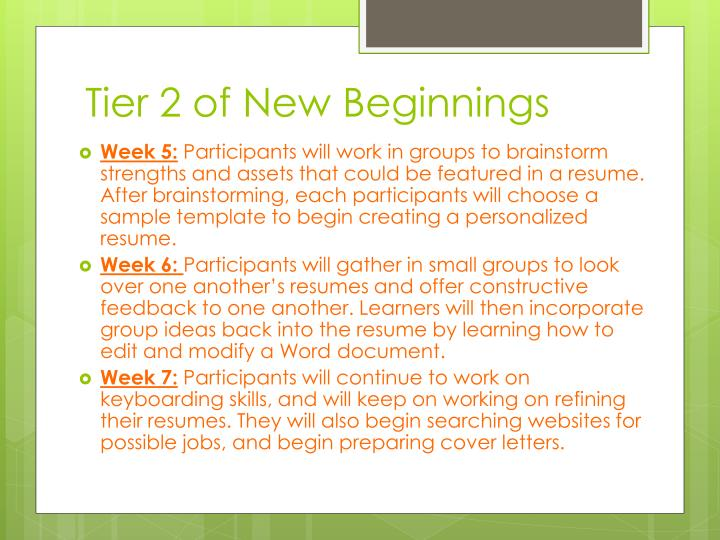 Tier 2 of New Beginnings