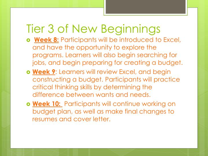 Tier 3 of New Beginnings