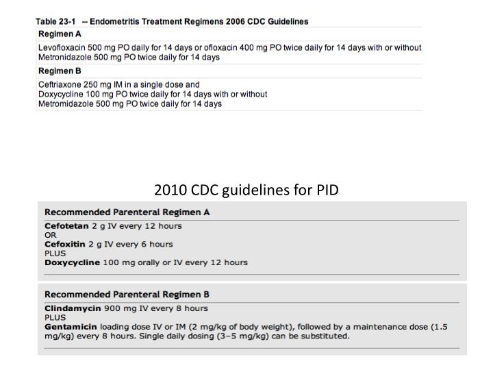 2010 CDC guidelines for PID