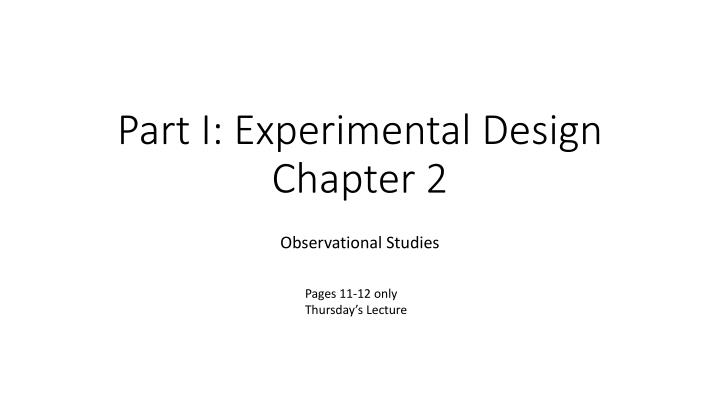part i experimental design chapter 2 n.