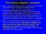 the missing obligatory constraint