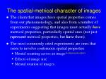 the spatial metrical character of images