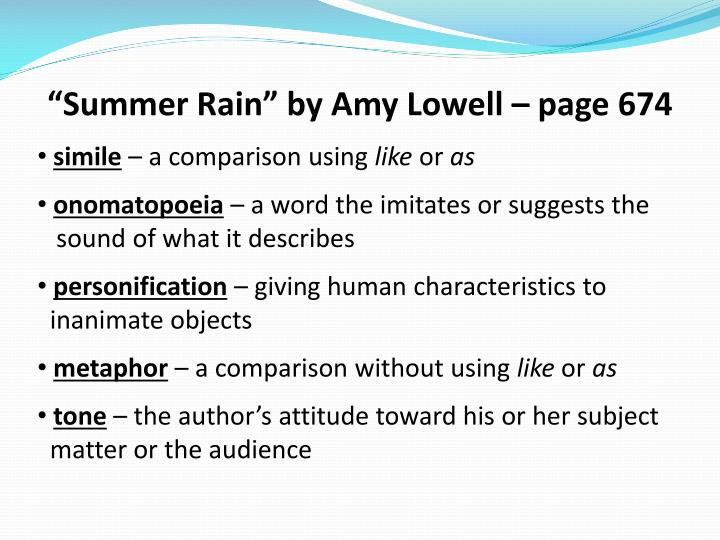 """""""Summer Rain"""" by Amy Lowell – page 674"""