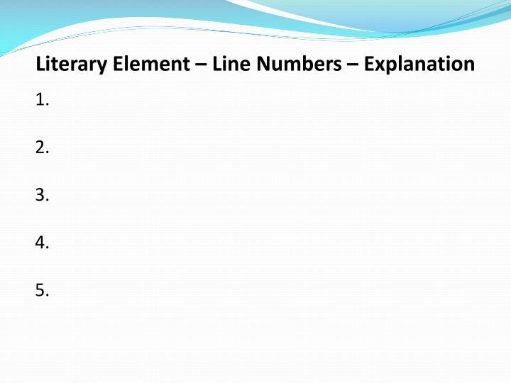 Literary Element – Line