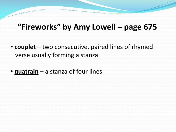 """""""Fireworks"""" by Amy Lowell – page 675"""