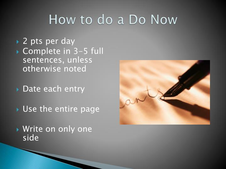 How to do a do now