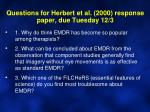 questions for herbert et al 2000 response paper due tuesday 12 3