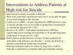 interventions to address patients at high risk for suicide
