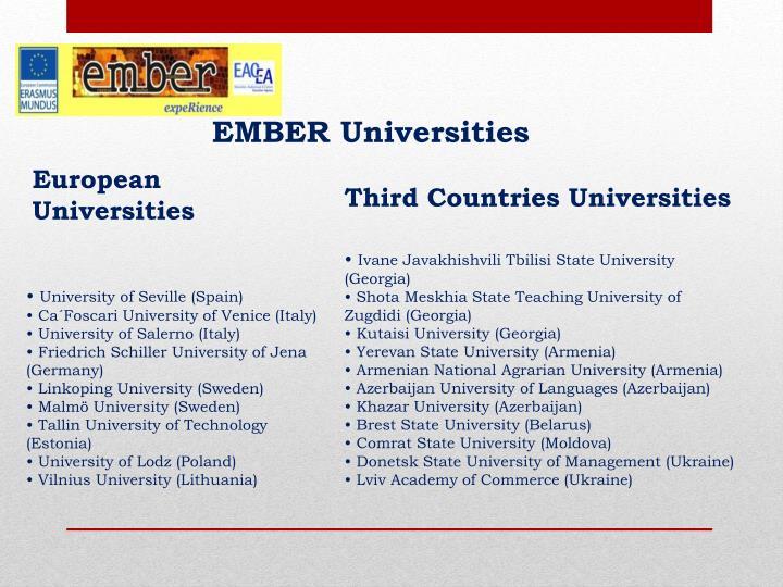 Ember universities