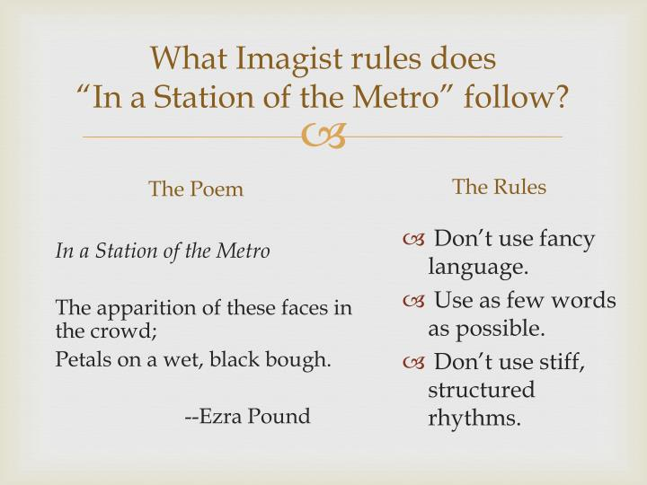 in a station of the metro analysis A microlecture by michael blackburn on ezra pound's imagist poem, in a station of the metro.