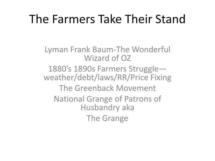 the farmers take their stand n.