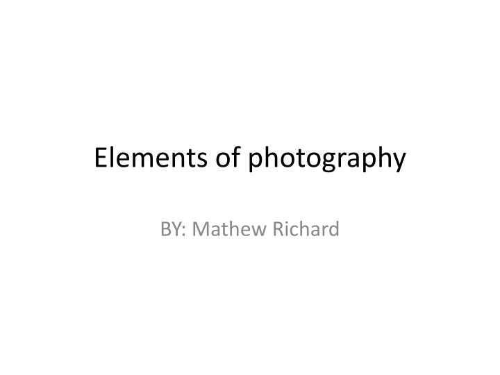 elements of photography n.