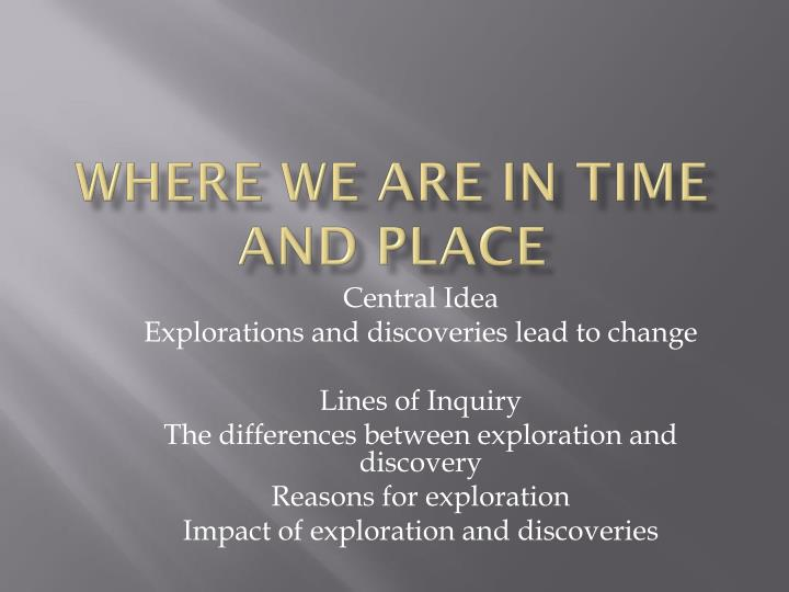 where we are in time and place n.