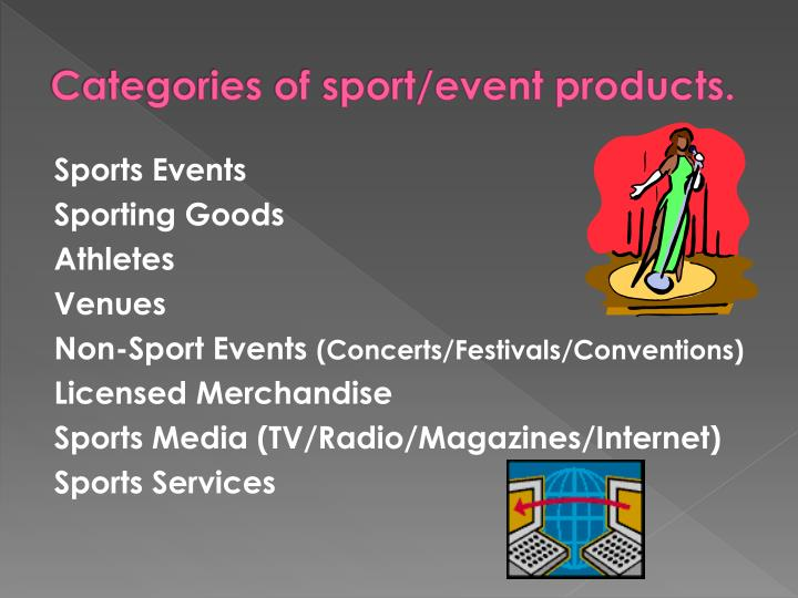 Categories of sport/event products.