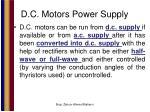 d c motors power supply