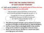 what are the characteristics of god s secret wisdom2