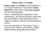 power value and reality