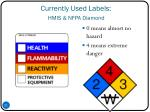 currently used labels hmis nfpa diamond