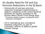 air quality need for oil and gas emission reductions in the dj basin
