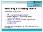 recruiting a marketing person