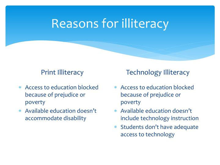Reasons for illiteracy