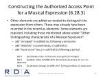 constructing the authorized access point for a musical expression 6 28 31