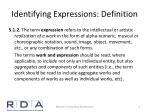 identifying expressions definition