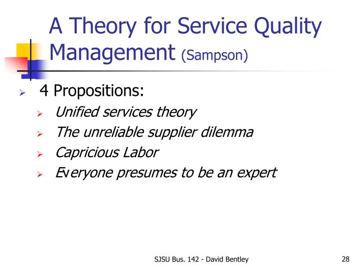 A Theory for Service Quality Management