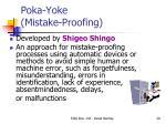 poka yoke mistake proofing