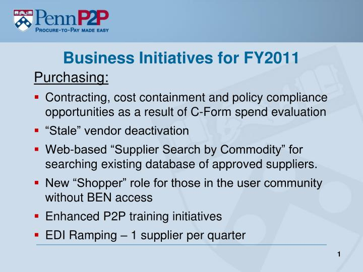 business initiatives for fy2011 n.