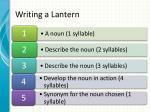 writing a lantern