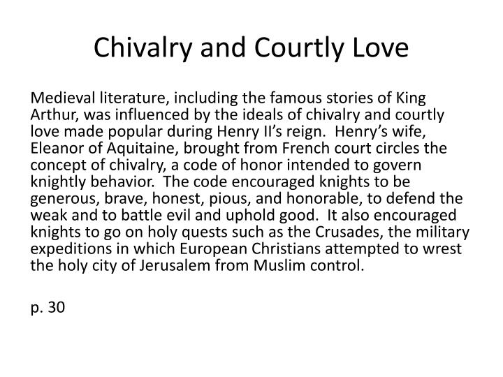 Chivalry and courtly love