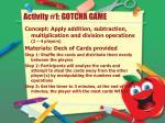 activity 1 gotcha game