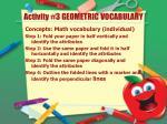activity 3 geometric vocabulary