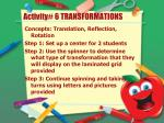 activity 6 transformations