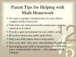 parent tips for helping with math homework