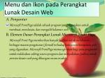 menu dan ikon pada perangkat lunak desain web