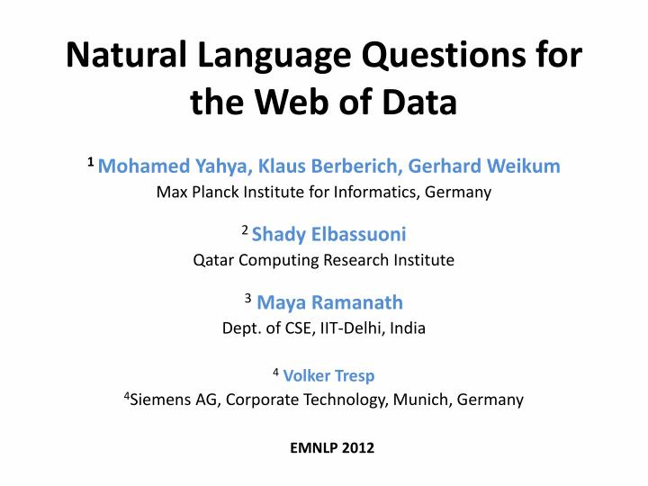 natural language questions for the web of data n.