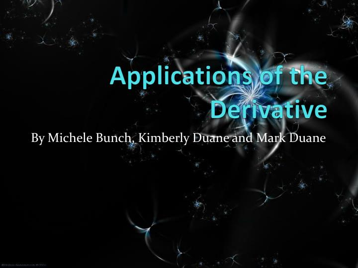 applications of the derivative n.
