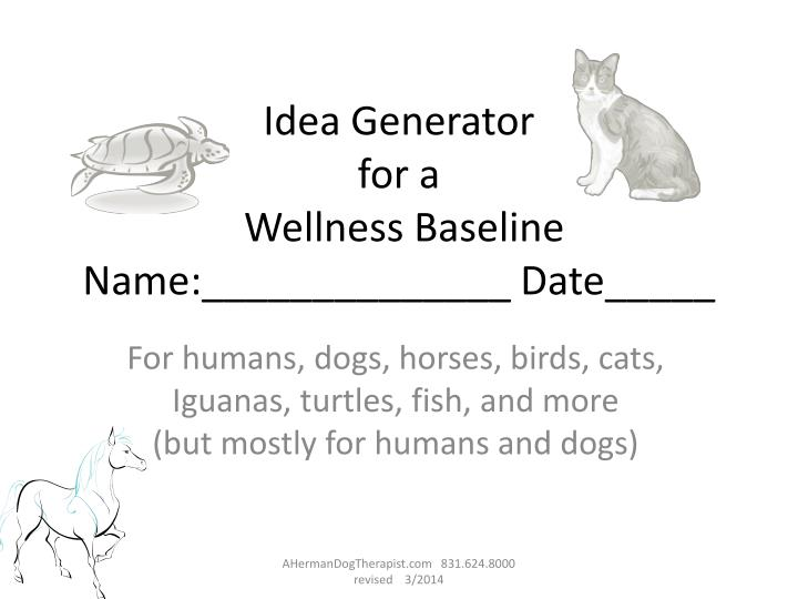 idea generator for a wellness baseline name date n.