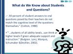 what do we know about students and questions